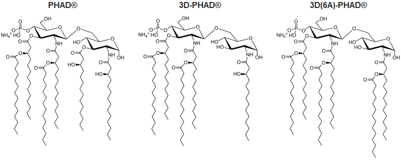 Chemical structures for PHAD®, 3D-PHAD®, and 3D(6A)-PHAD®